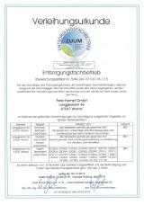 Bild: Entsorgungsfachbetrieb Zertifikat von 2018