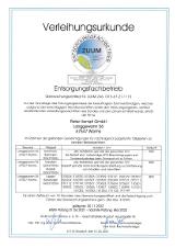 Bild: Entsorgungsfachbetrieb Zertifikat von 2021